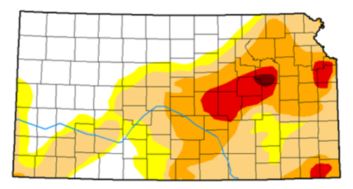 Map of Kansas showing the drought levels of each county, from no drought to exceptional drought